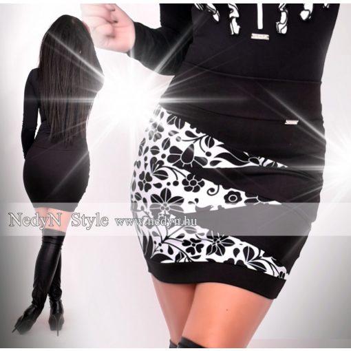 NedyN Fekete fehér cikk-cakkos női szoknya