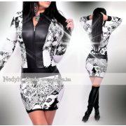 NedyN anyagában virágmintás fekete cipzáros női ruha