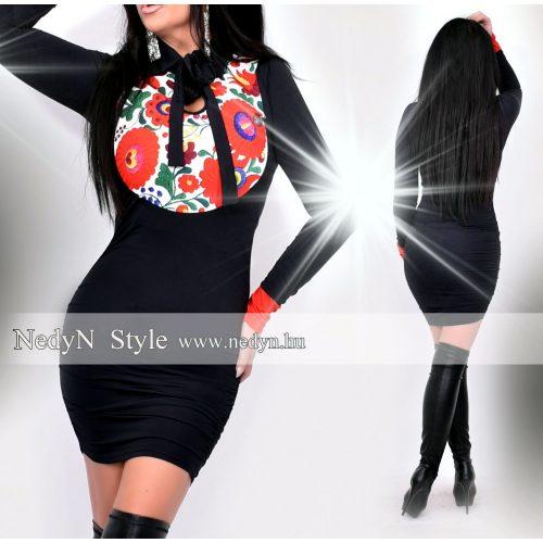 NedyN fekete színű poliamid női Pingvin női ruha virágmintás felső résszel