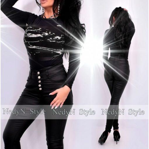 NedyN fekete műbőr szegélyes kerekített nyakú női felső