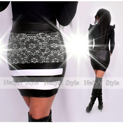 NedyN fekete bőrhatású  3 csíkos női szoknya mintás csíkozással