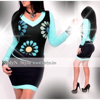 NedyN fekete menta V-kivágott nagy virágmintás női ruha