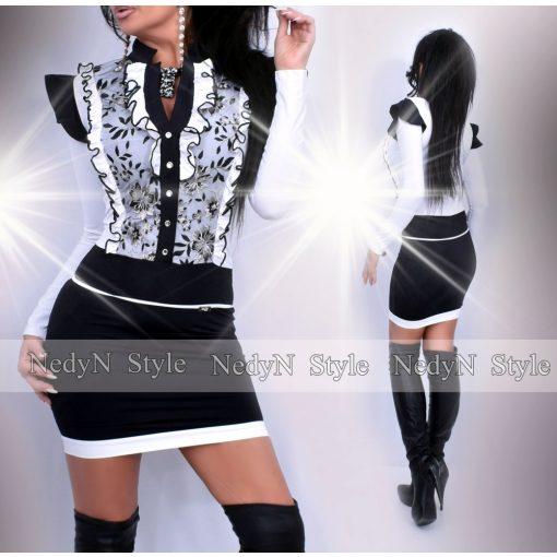 NedyN fehér fekete hullámfodros zsabós női ruha