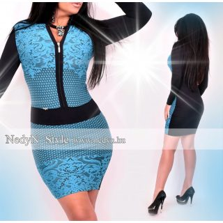 NedyN fekete kék csipke hatású cipzáros női ruha
