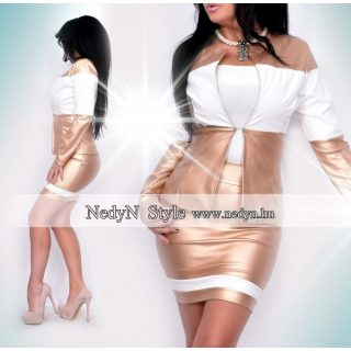 NedyN arany-fehér bőrhatású női blézer és szoknya szett