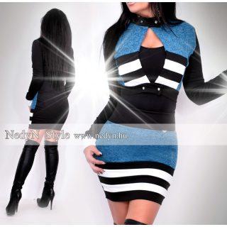 NedyN kék fekete 3 csíkos női mini blézer és szoknya szett