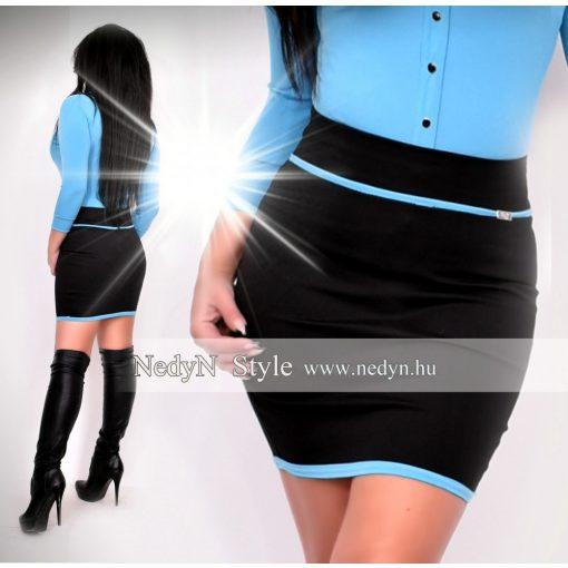 NedyN fekete puntó női szoknya kék szegéllyel