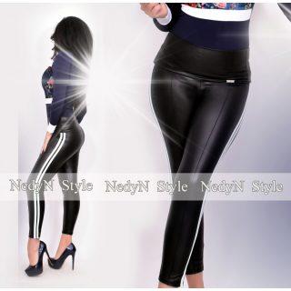 NedyN fekete bőrhatású legging oldalán 2 fehér csíkkal