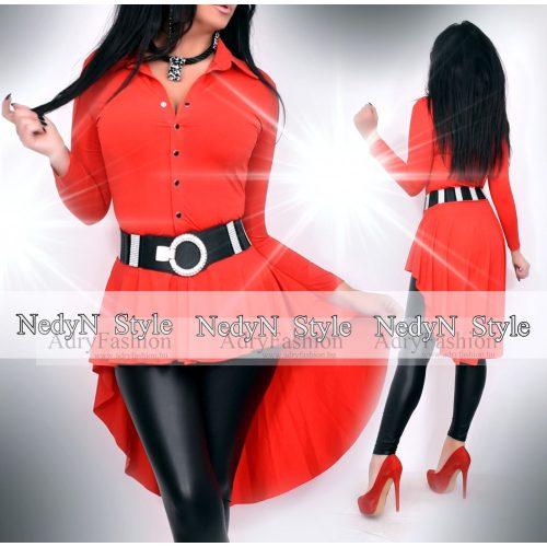 NedyN piros színű fodros női ing hátul hosszított  - öv nélkül