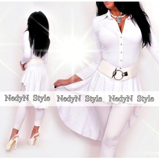 NedyN fehér színű fodros női ing hátul hosszított