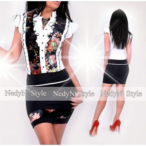 NedyN fekete fehér színű zsabós női ruha színes virágmintás szegéllyel