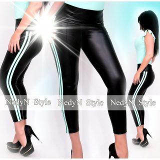 NedyN fekete bőrhatású legging oldalán 2 menta csíkkal