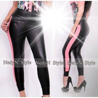 NedyN fekete bőrhatású legging oldalán rózsaszín szegővel