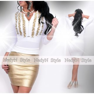 NedyN fehér alapon arany 3 fodros zsabós női felső - szoknya nélkül