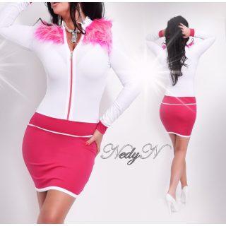 NedyN fehér pink cipzáros női ruha pink szőrmével