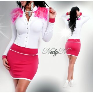 NedyN fehér pink női ruha pink szőrmével