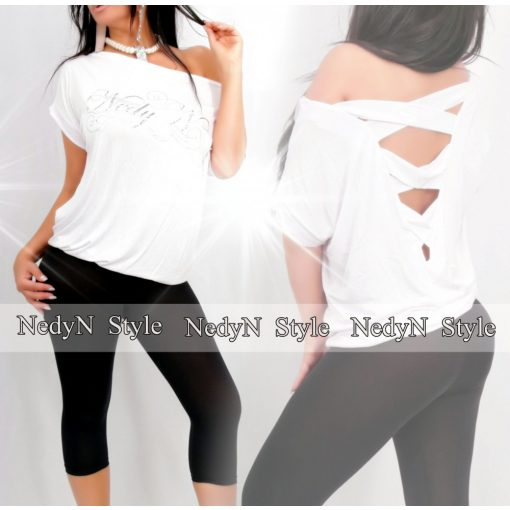NedyN fehér színű bővebb fazonú hátul keresztpántos női felső