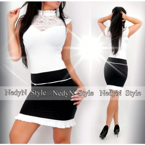NedyN fehér fekete színű csipke díszes alkalmi női ruha