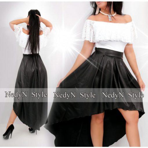 NedyN fekete műbőr elöl rövidebb hátul hosszabb női szoknya