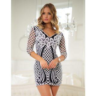 Elegáns Fekete fehér flitteres díszes alkalmi női ruha M-es
