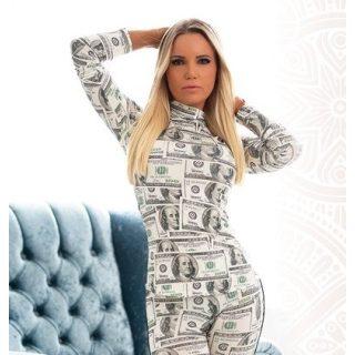 MISSQ Szidónia garbó krém színű dollár mintás
