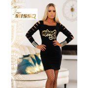 MISSQ Neszta ruha fekete ujjánál rácsos arany felirattal
