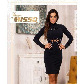 MISSQ Verena ruha - fekete fűzős ruha
