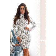 MISSQ  POSY ruha - dollár mintás ruha krém alapon zöld mintás