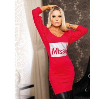 MISSQ pézsma ruha - piros színű ujjánál nyitott