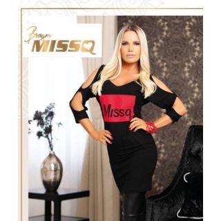 MISSQ pézsma ruha -  fekete színű ujjánál nyitott