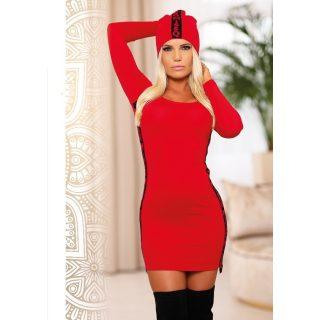MISSQ K.Orchidea kötött női ruha piros-fekete