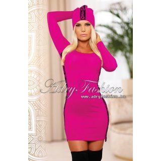 MISSQ K.Orchidea kötött női ruha rózsaszín-fekete