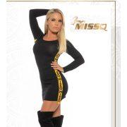MISSQ K.Orchidea kötött női ruha fekete-sárga