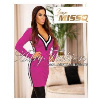 MISSQ  pink kötött női ruha mini csőtoppal