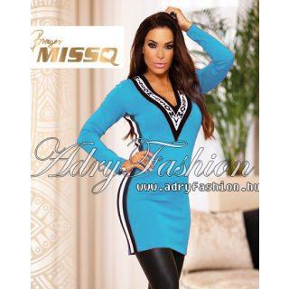 MISSQ K.Gréte kötött női ruha MISSQ feliratos világoskék