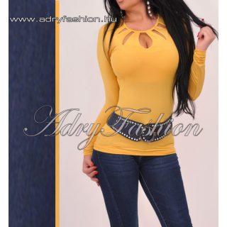 Sárga hosszú ujjú női basic felső S-es