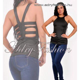 Garbós hátán pánt díszes fekete női felső S-es