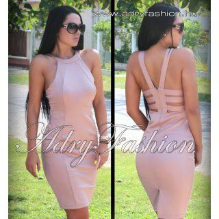 Bézs színű hátán pánt díszes  alkalmi női ruha M-es