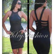 Fekete garbós hátán pánt díszes alkalmi női ruha S-es