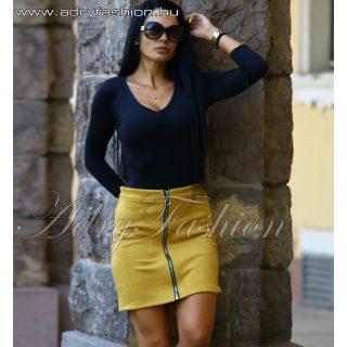 Mustár sárga cipzáros női szoknya