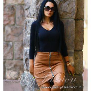 Csau barna cipzáros női szoknya