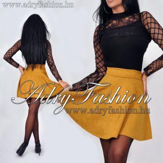Mustár sárga szarvasbőr hatású loknis szoknya