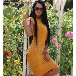 Mustár sárga anyagában mintás női ruha