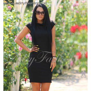 Fekete szarvasbőr hatású hátán cipzáros női ruha
