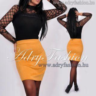 Mustár sárga szarvasbőr hatású női szoknya