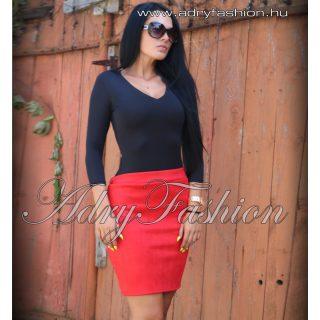 Piros szarvasbőr hatású női szoknya