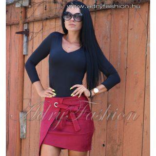 Bordó szarvasbőr hatású átlapolt női szoknya
