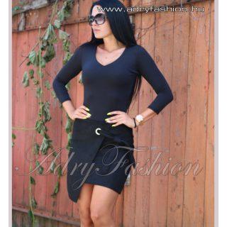 Fekete szarvasbőr hatású átlapolt női szoknya