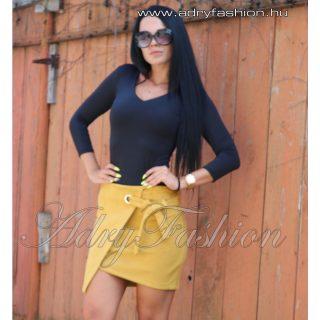 Mustár sárga szarvasbőr hatású átlapolt női szoknya