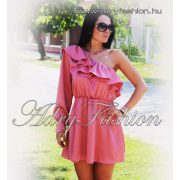 Szatén félvállas női ruha mályvás rózsaszín
